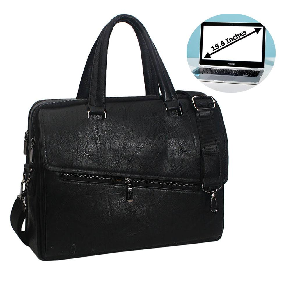 Black Gonzalo Leather Double Zipper Briefcase