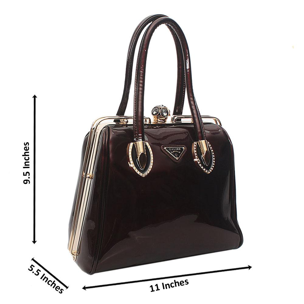 Coffee Galian Patent Leather Tote Handbag