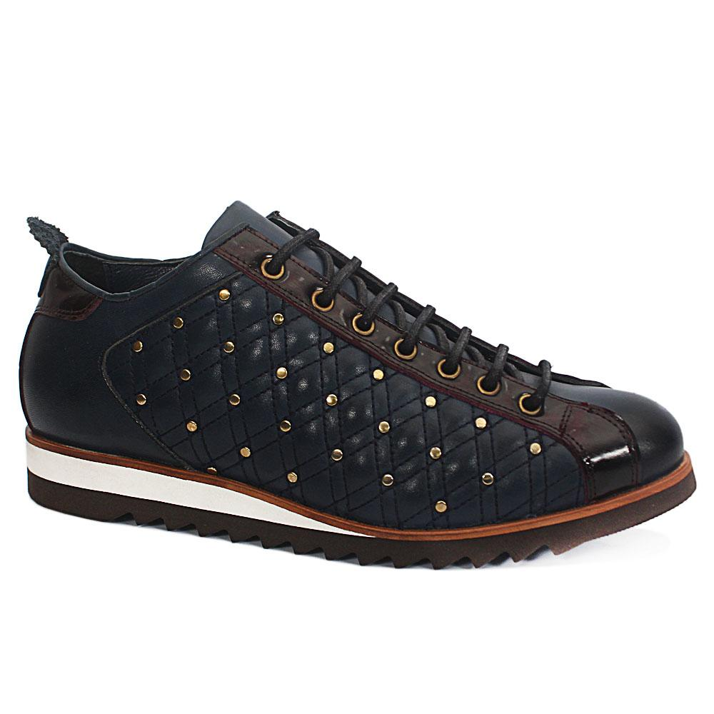 Blue Vintage StudLeather Sneakers