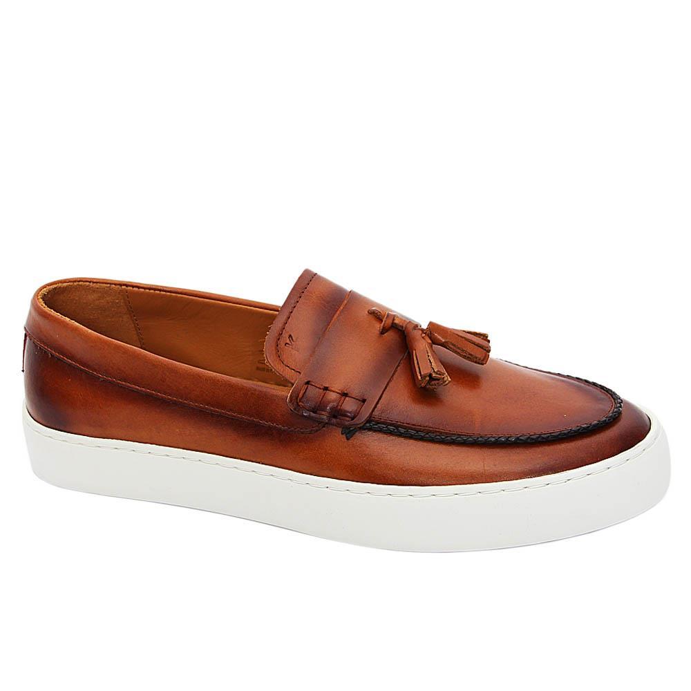 K Geiger Brown Jeff Lewis Leather Tassel Slip-on Loafers