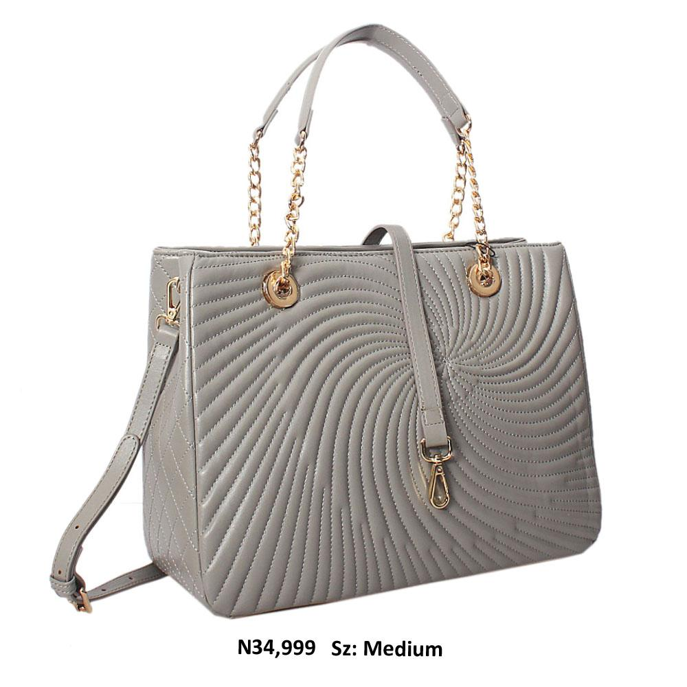 Grey Martina Threaded Style Soft Leather Tote Handbag