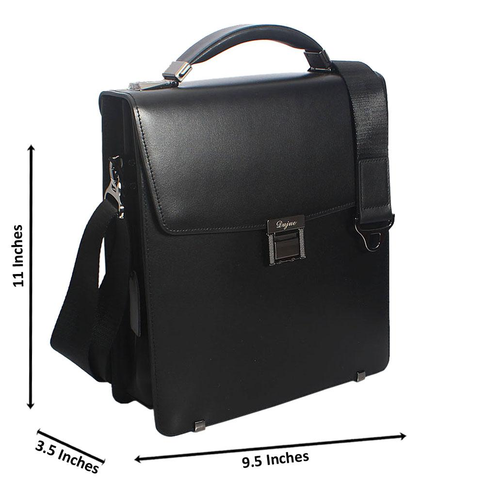 Black Smooth Cowhide Small Leather Briefcase
