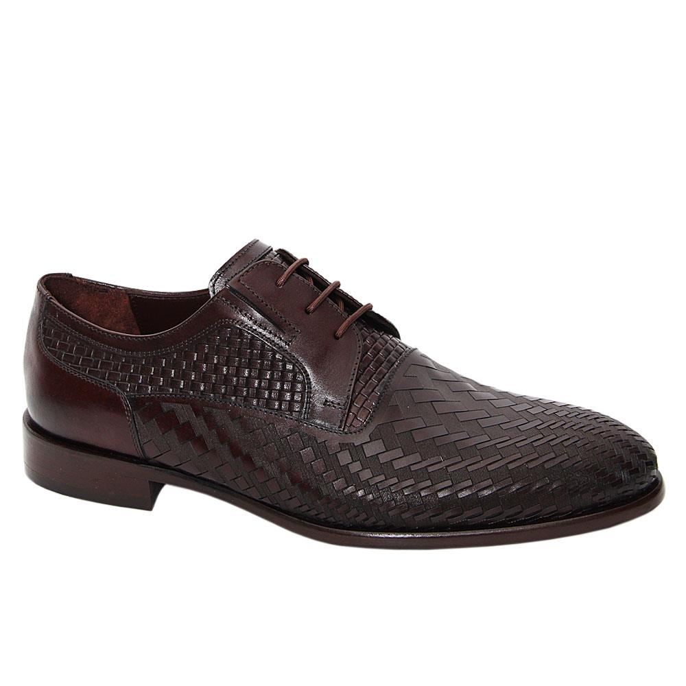 Coffee Emilio Woven Styled Italian Leather Derby Shoe