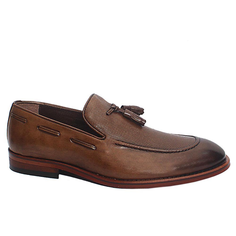 Brown Quinn Leather Loafers