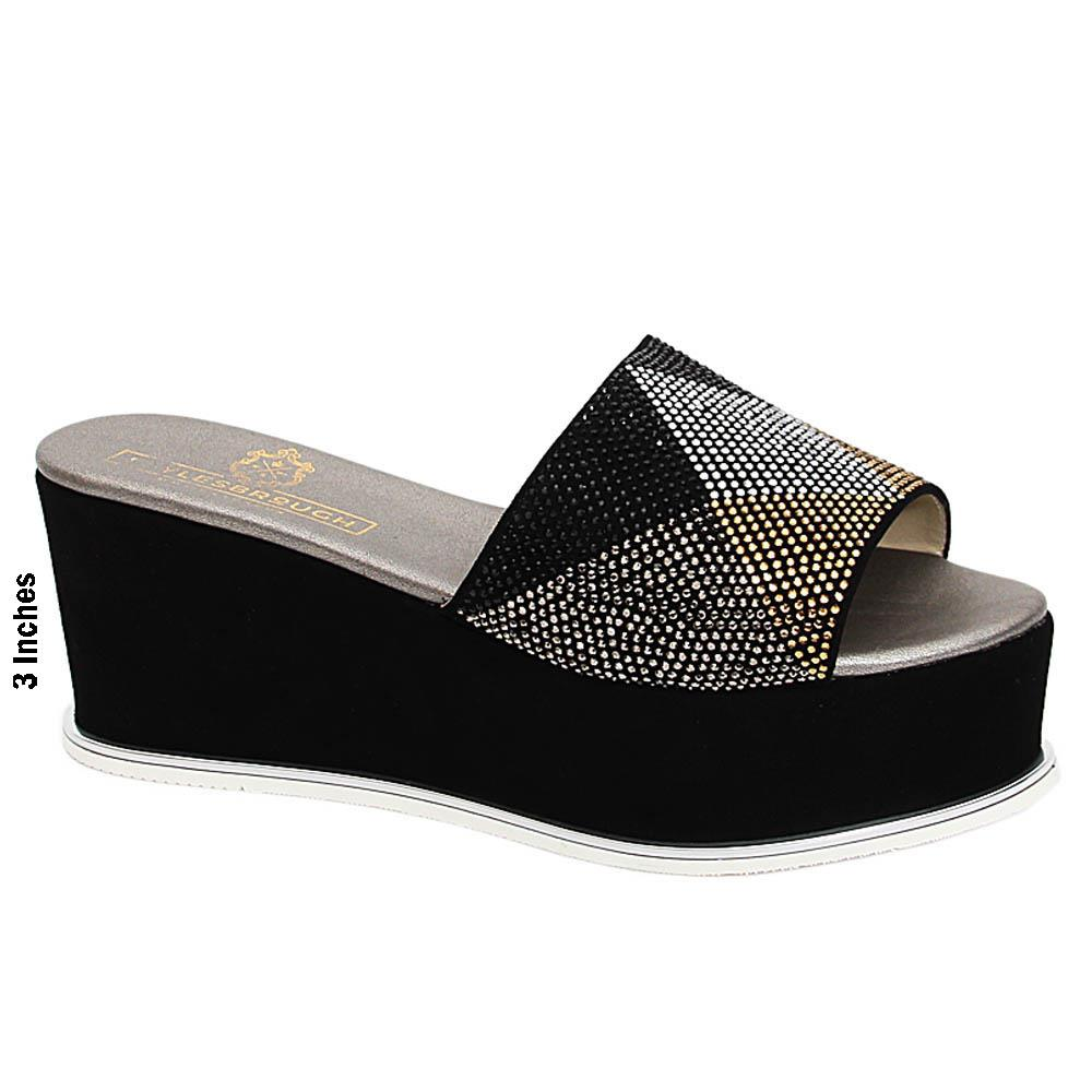 Black Giovanna Studded Suede Leather Wedge Heel