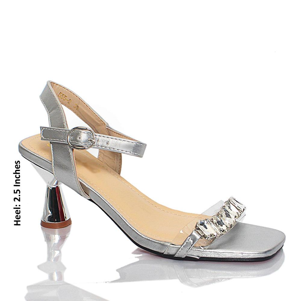 Silver Katty Crystals Studded Rubber Suede Leather Heel Sandals