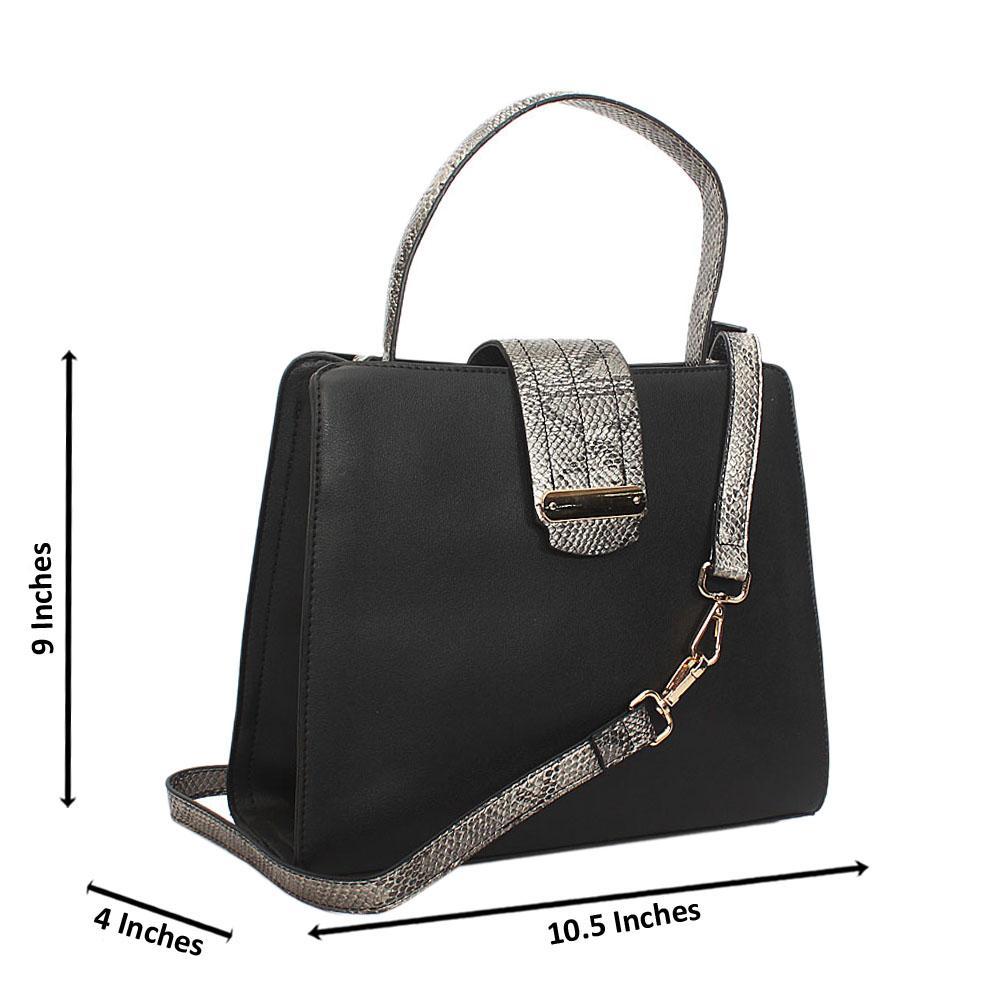 Black Natalia Leather Small Top Handle Handbag
