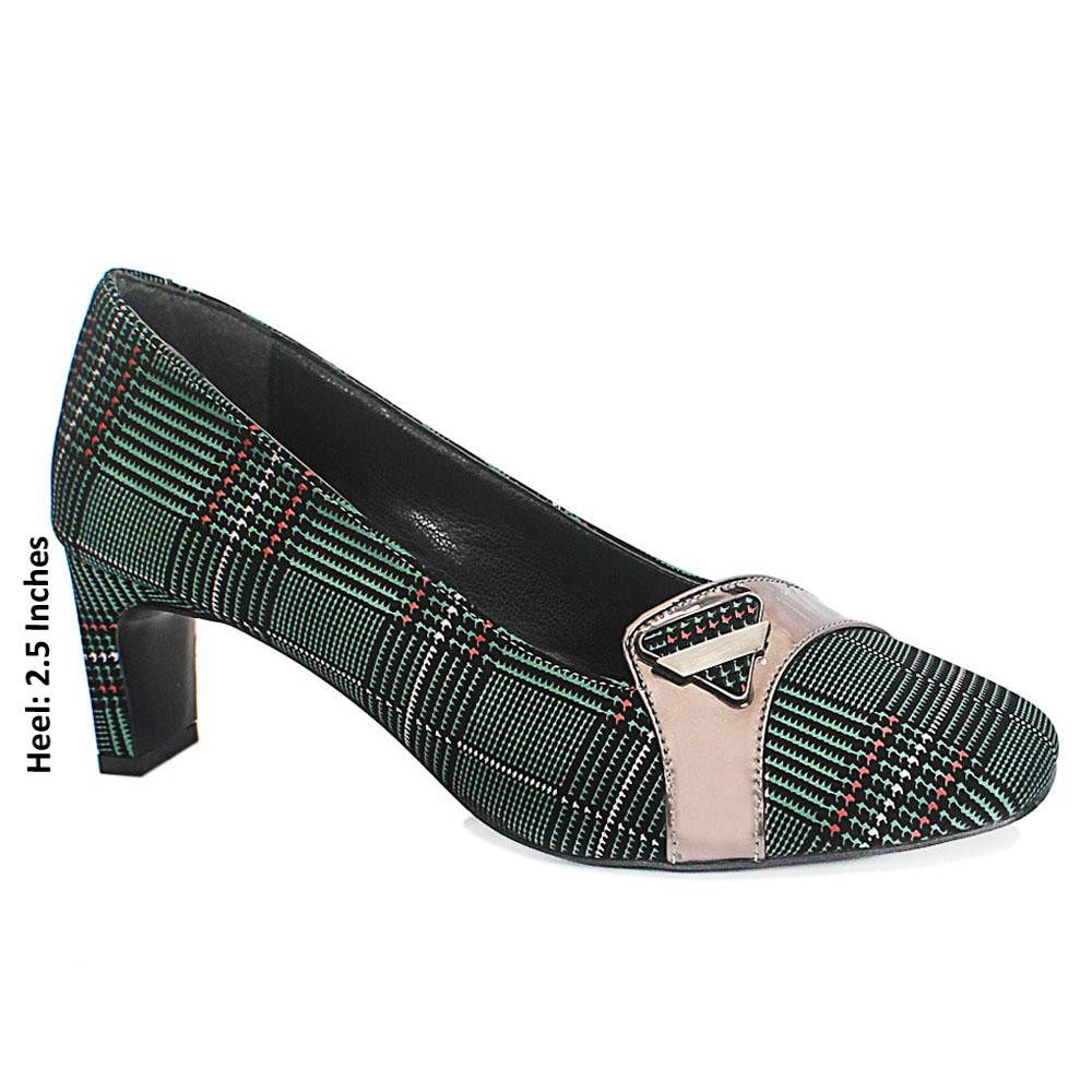Green Plaid Leather Ladies Heel