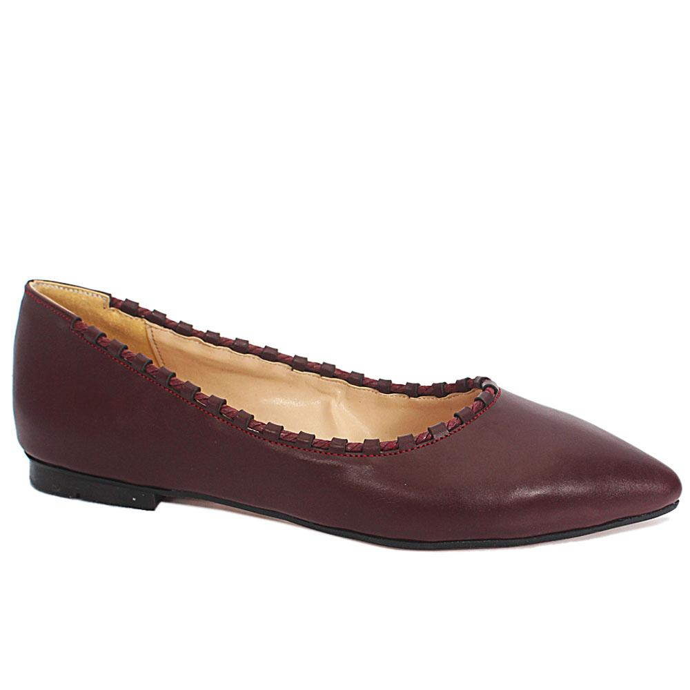 Allison Wine Body Thread Leather Pointed Toe Flat Shoes