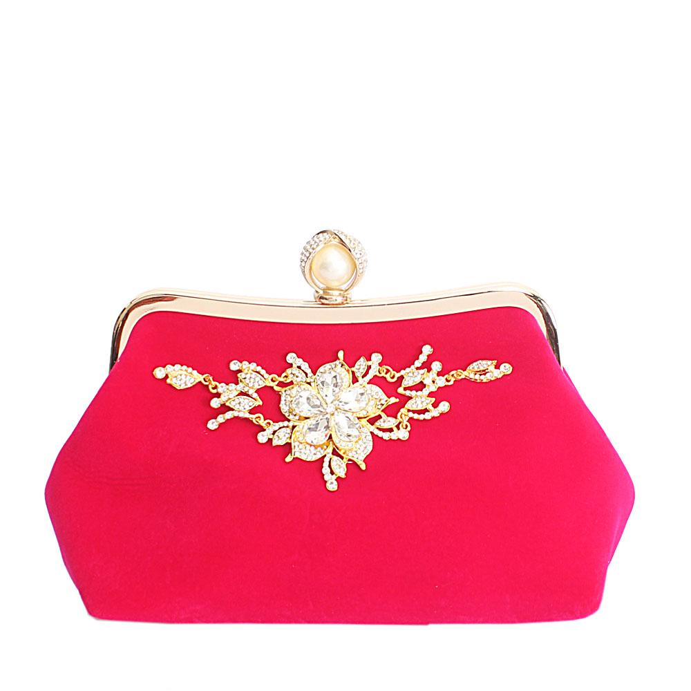 Pink Studded Suede Fabric Soft Clutch Purse
