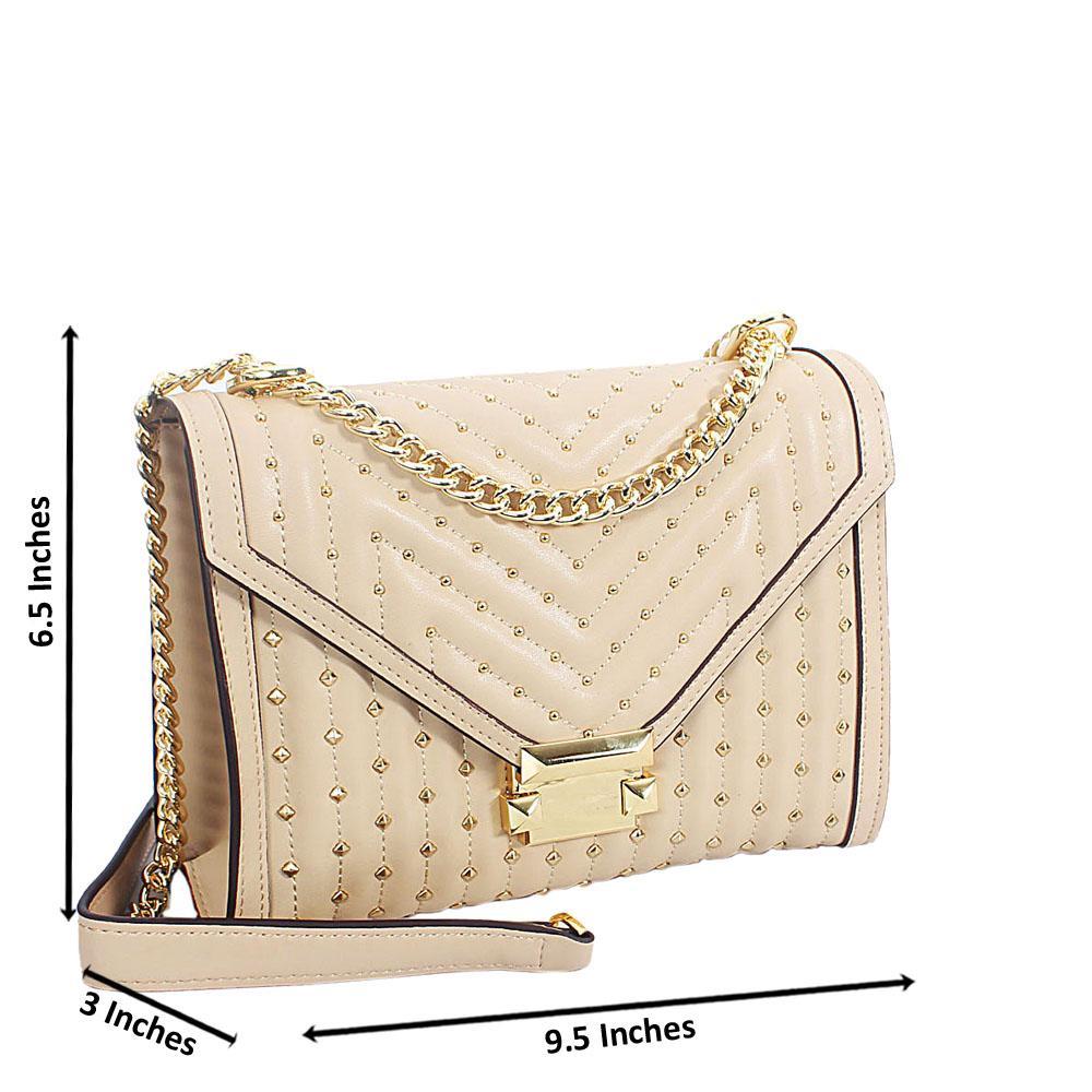 Khaki Gold Studded Leather Chain Crossbody Handbag
