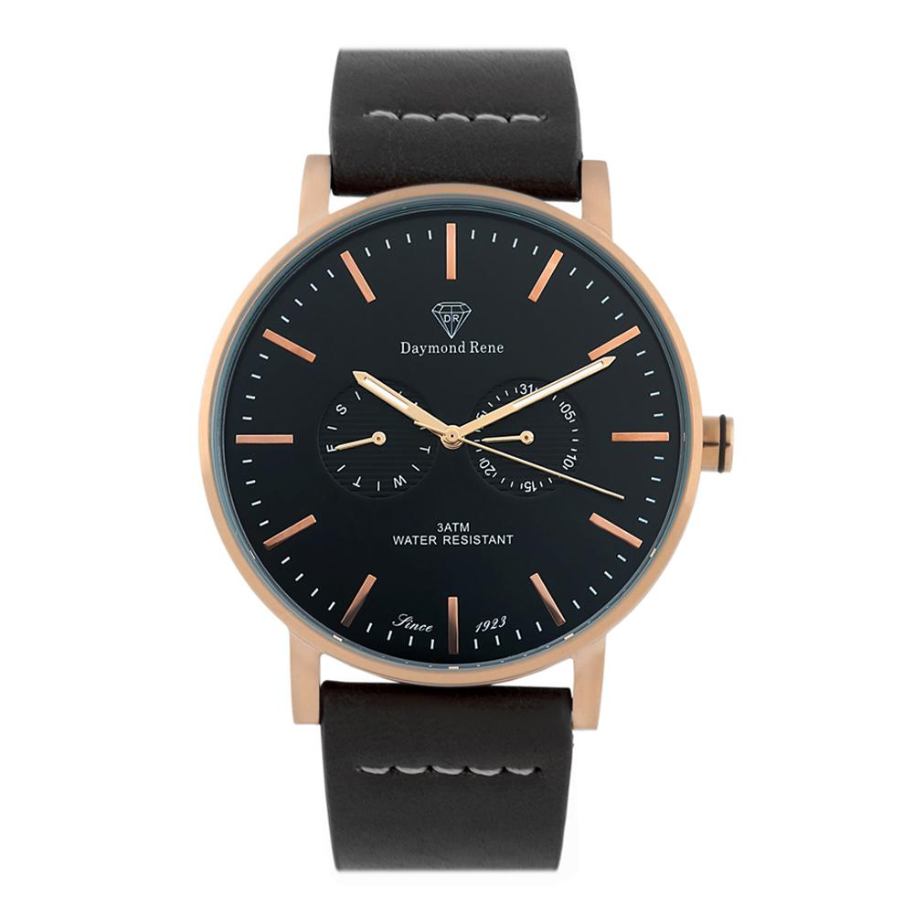 Black Rose Gold Leather Coin Watch