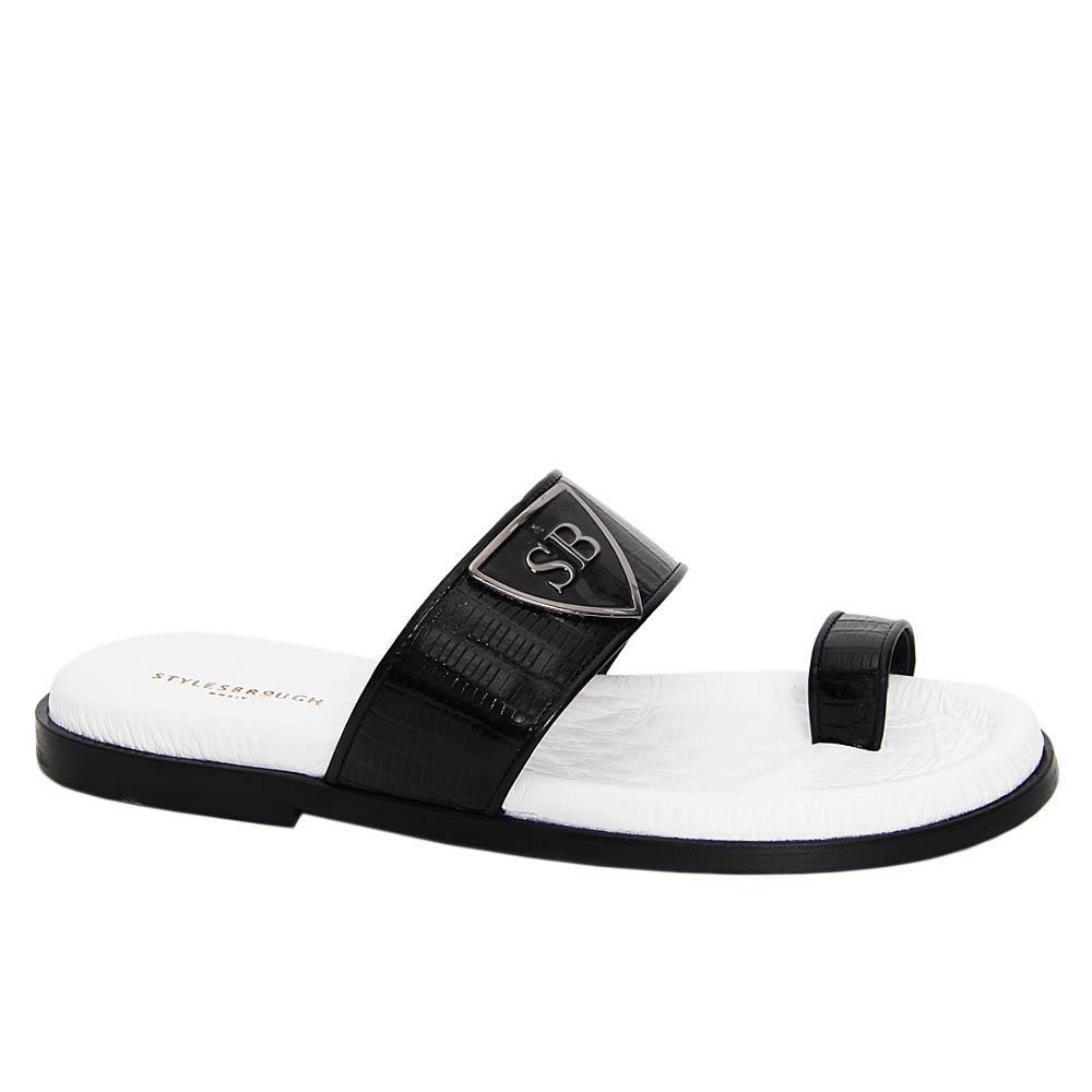 Black White Eric Mario Italian Leather Slippers