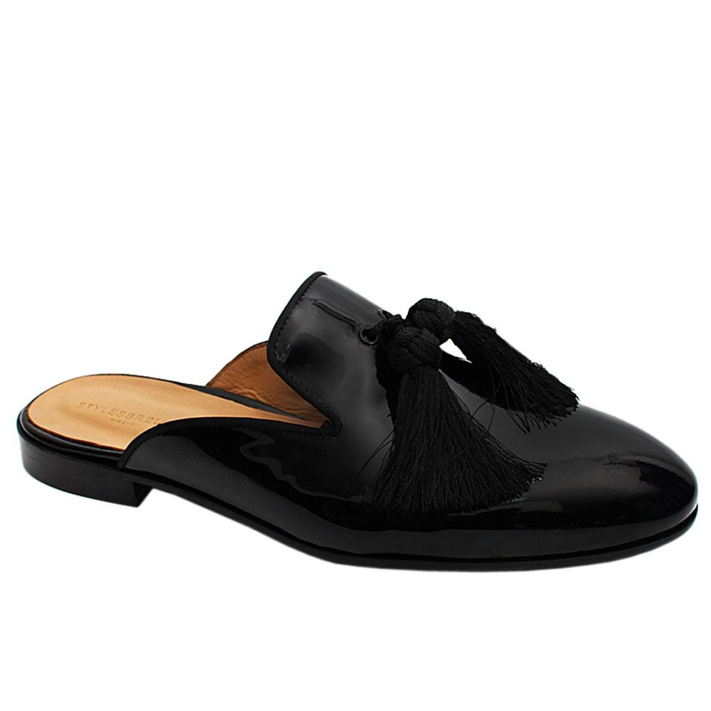 Black Tassel Patent Italian Leather Men Half Shoe Slippers
