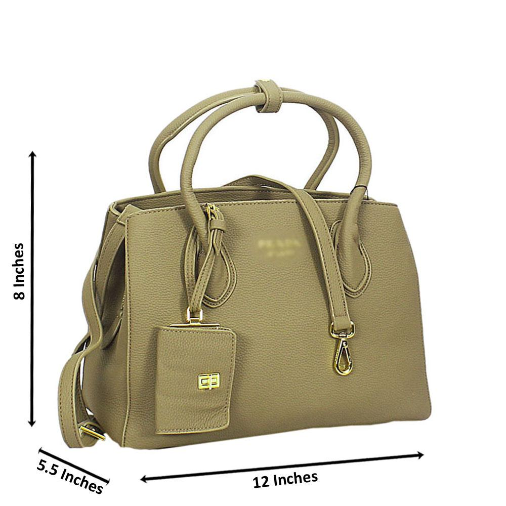 Khaki Lucrezia Leather Tote Handbag