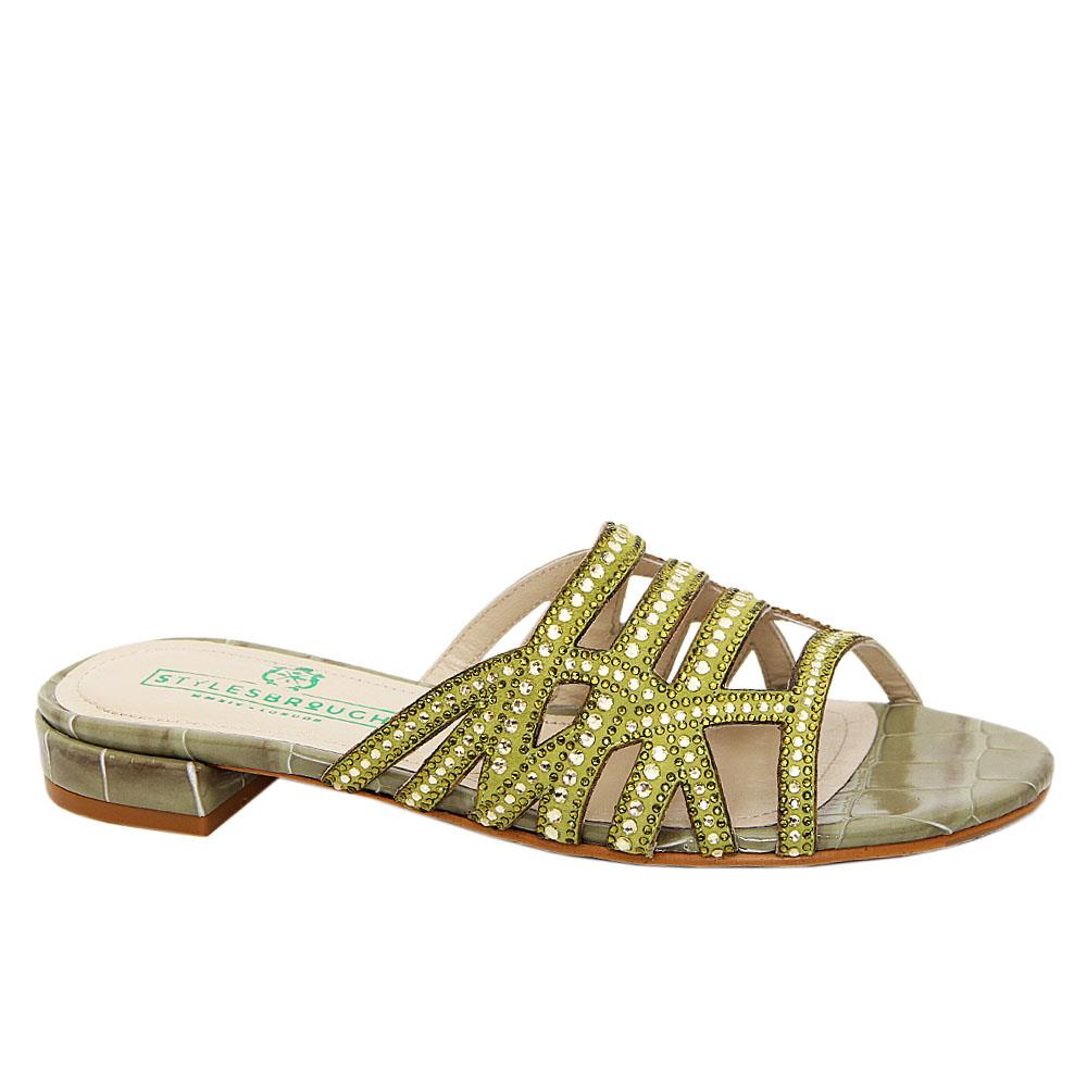 Olive Green Lana Studded Italian Leather Low Heel Slippers