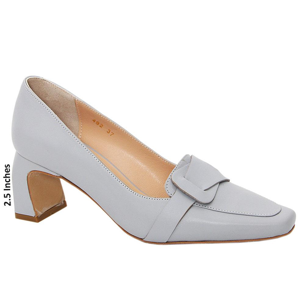 Gray Holly Tuscany Leather Mid Heel Pumps