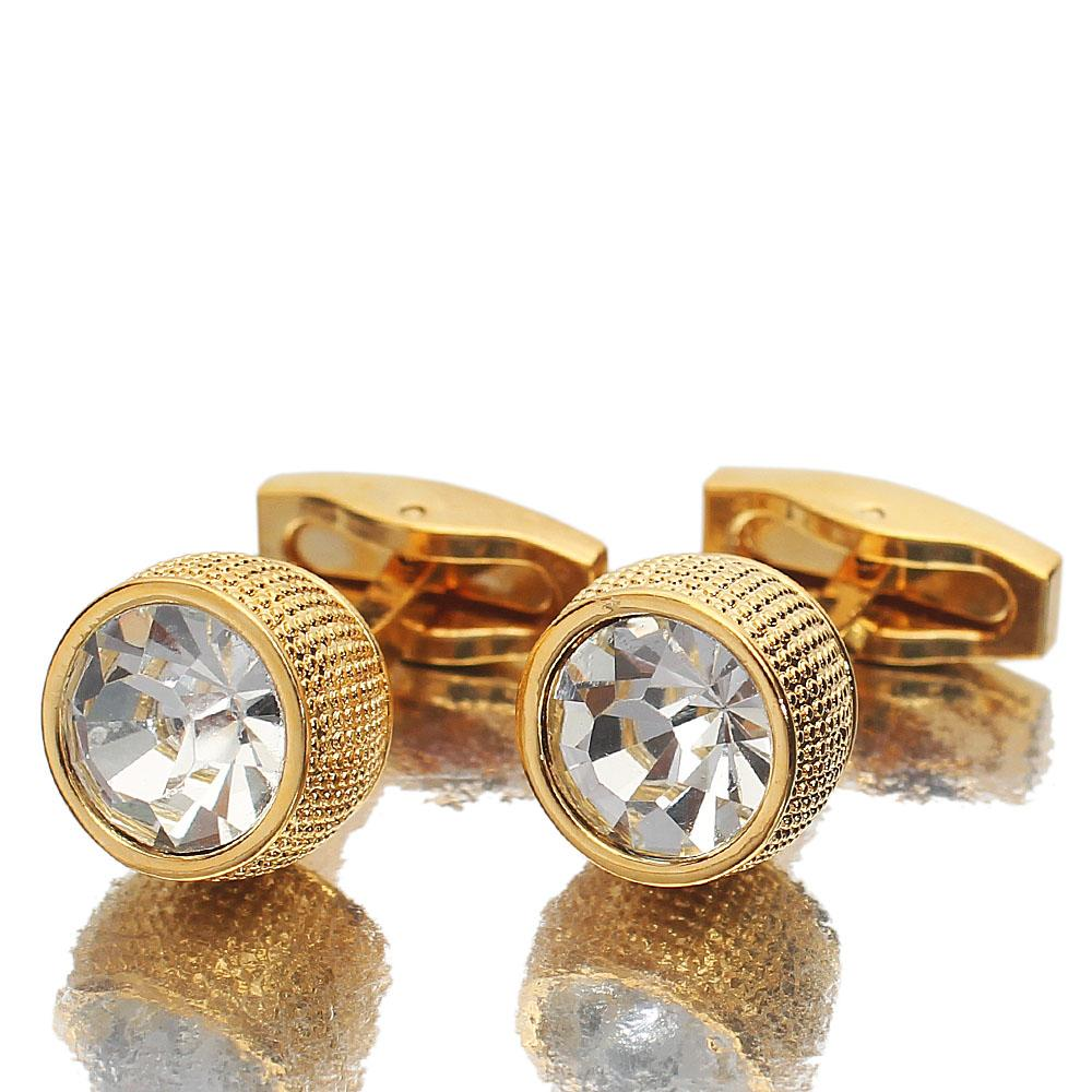 Gold-Diamond-Ice-Stainless-Steel-Cufflinks