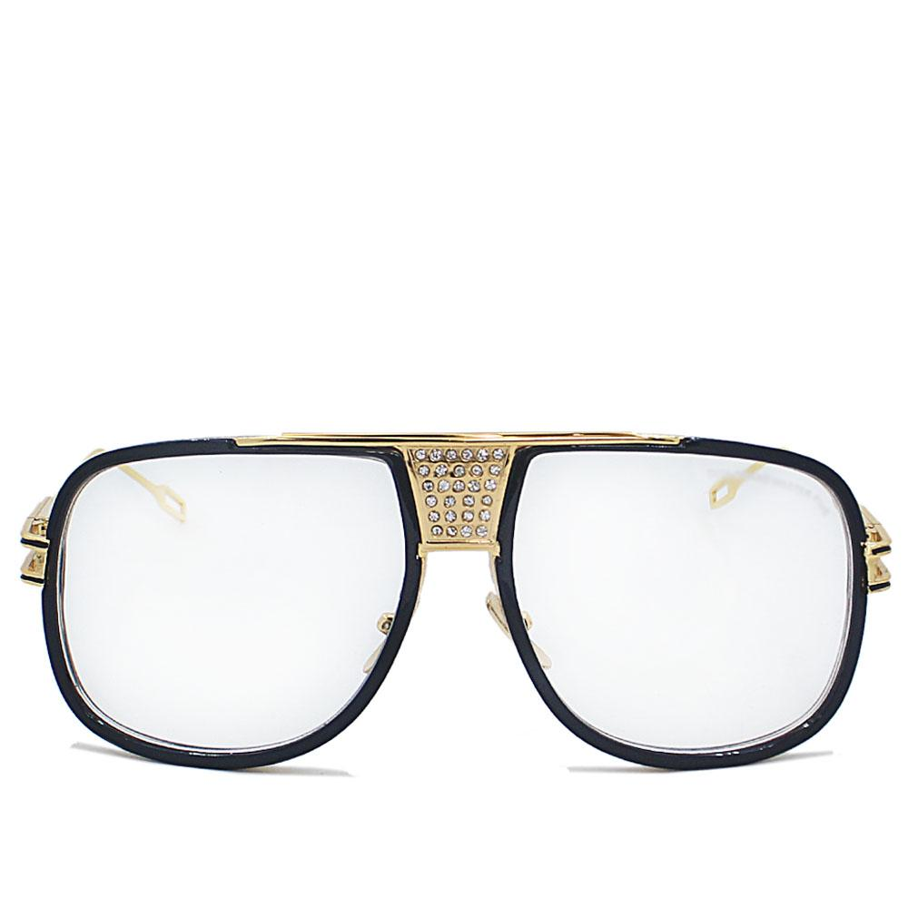 Gold Black Stainless Steel Straight FWide Fit Glasse