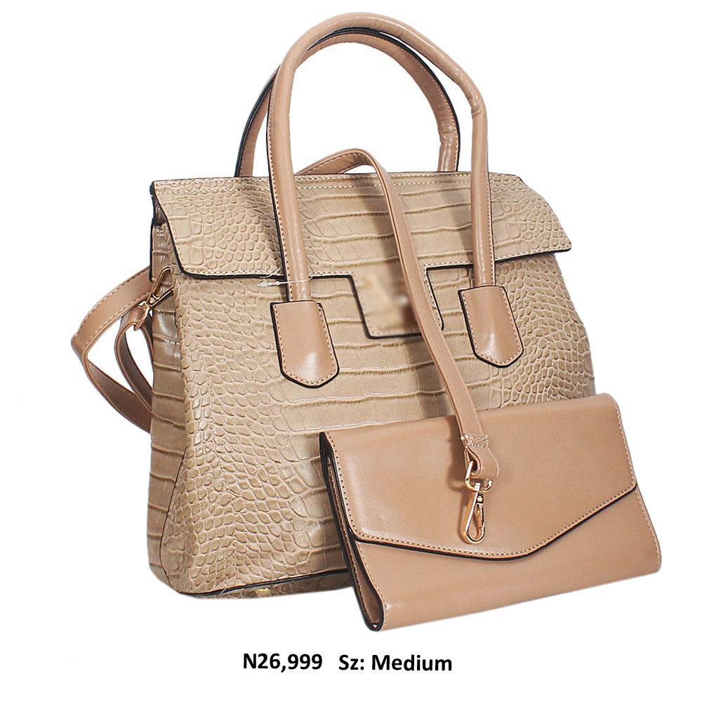 Khaki Croc Style Leather Tote Handbag