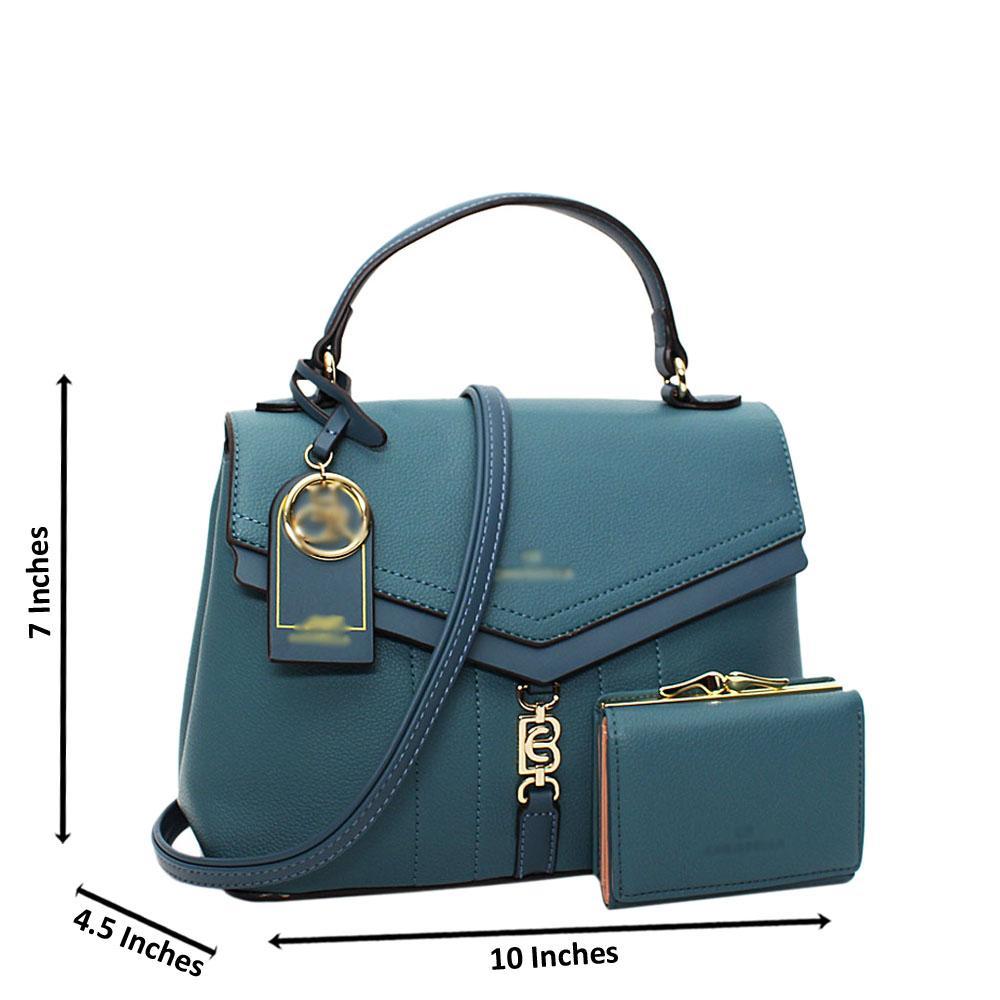 Sky Blue Vallea Leather Small Top Handle Handbag