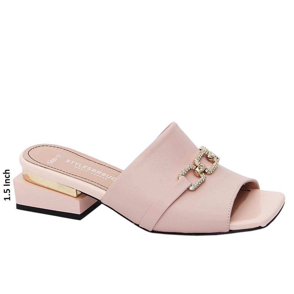 Soft Pink Azalea Tuscany Leather Mid Heel Mule