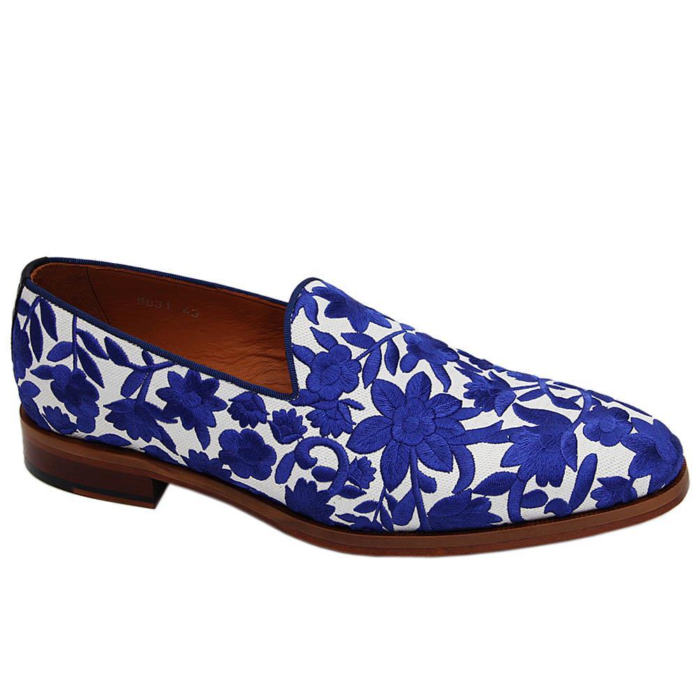 Blue Floral Cesare Fabric-Leather Mix Italian Loafers