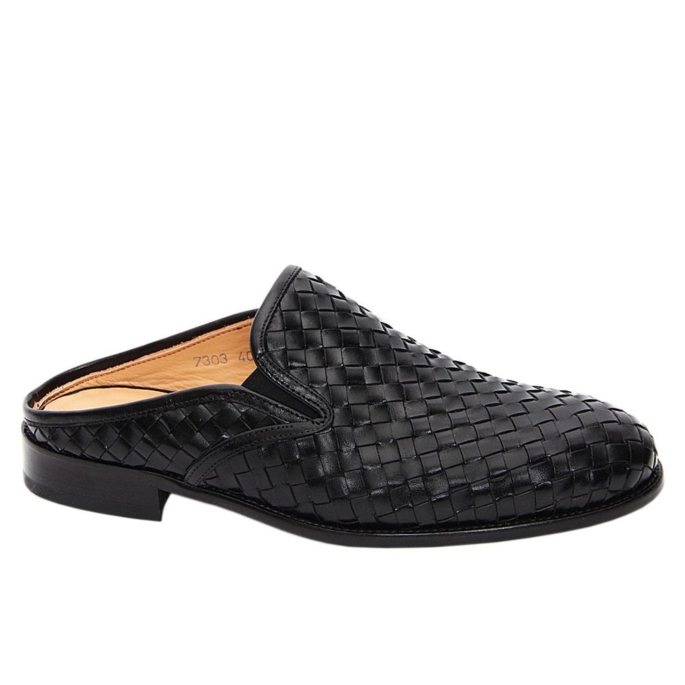 Black Wilmer Woven Italian Leather Half Shoe