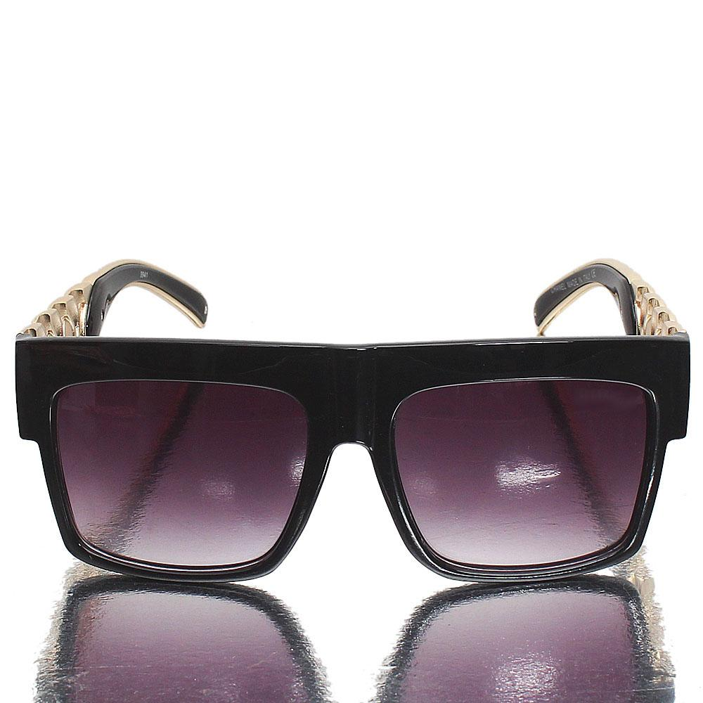 Gold Black Shield Dark Lens Sunglasses