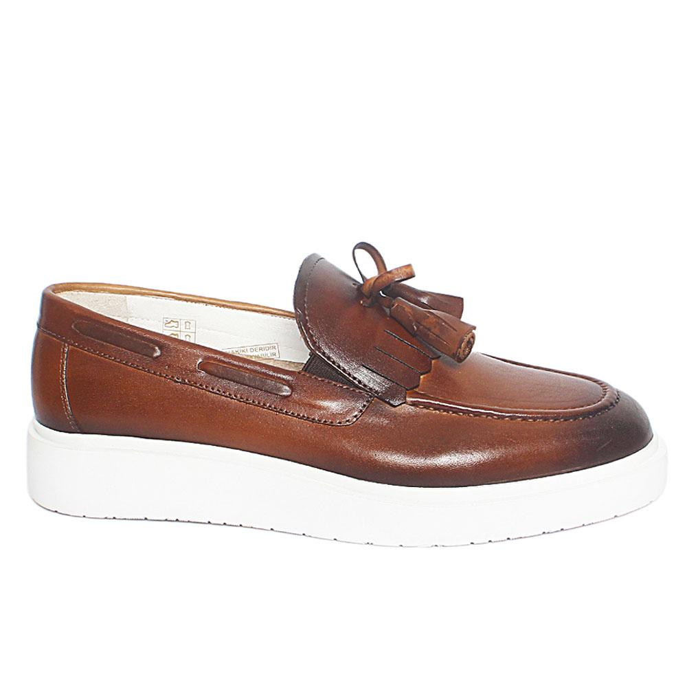 Coffee Mix Leather Slipon Loafers