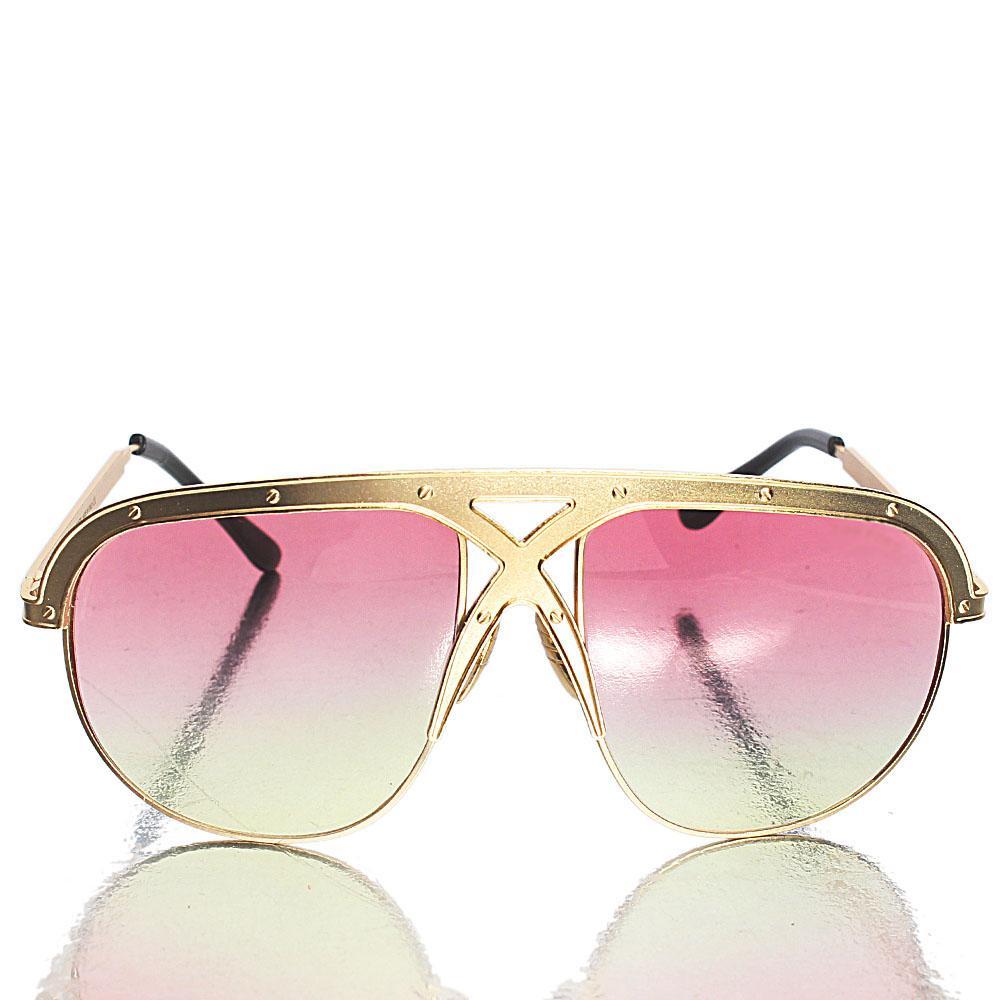 Gold Black Shield Pink Reflective Lens Sunglasses