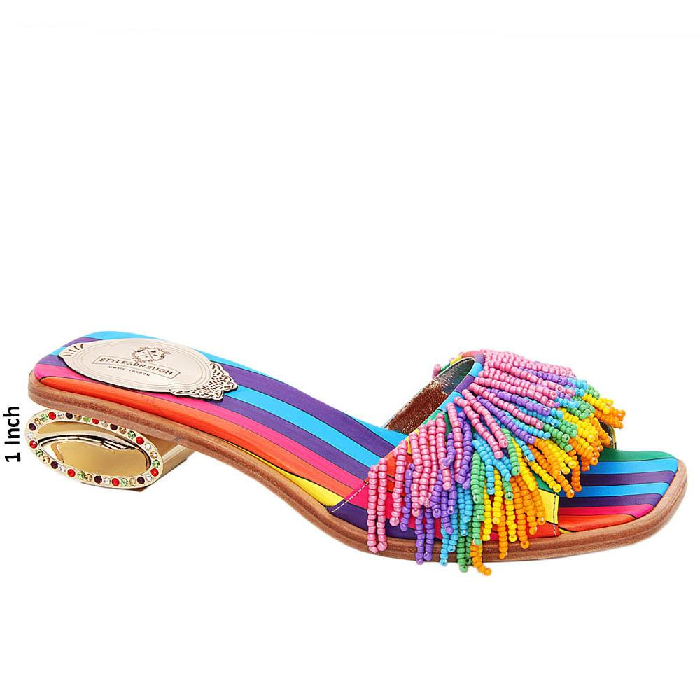 Multicolor Kimberly Beaded Italian Leather Low Heel Slippers