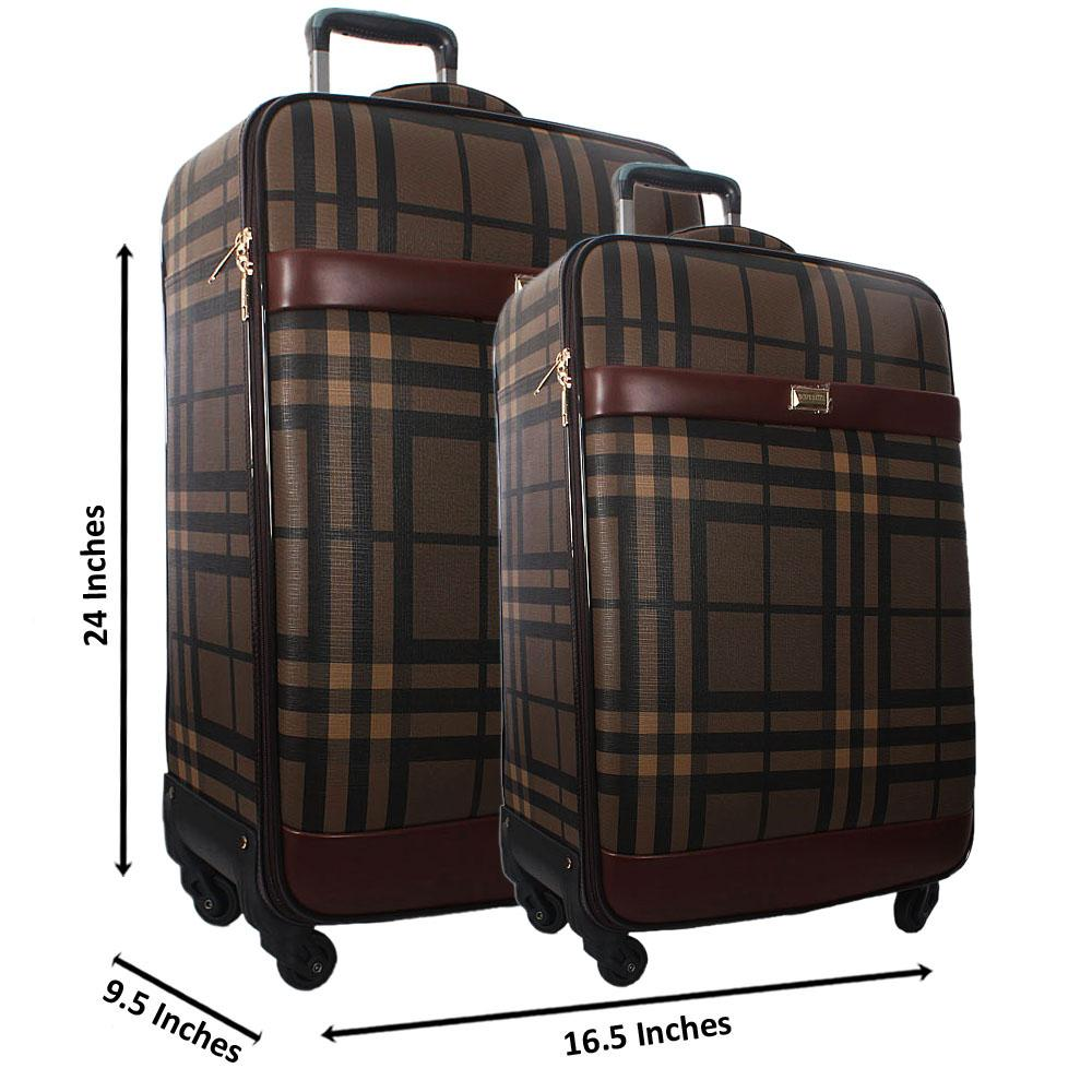 Brown Black 24 Inch Wt 20 Inch 2 in 1 Leather Luggage Set