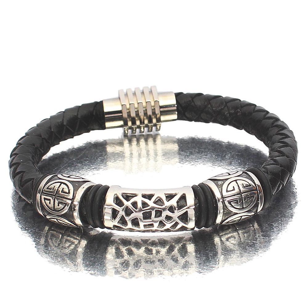 Classic Silver Black Round Leather Bracelet