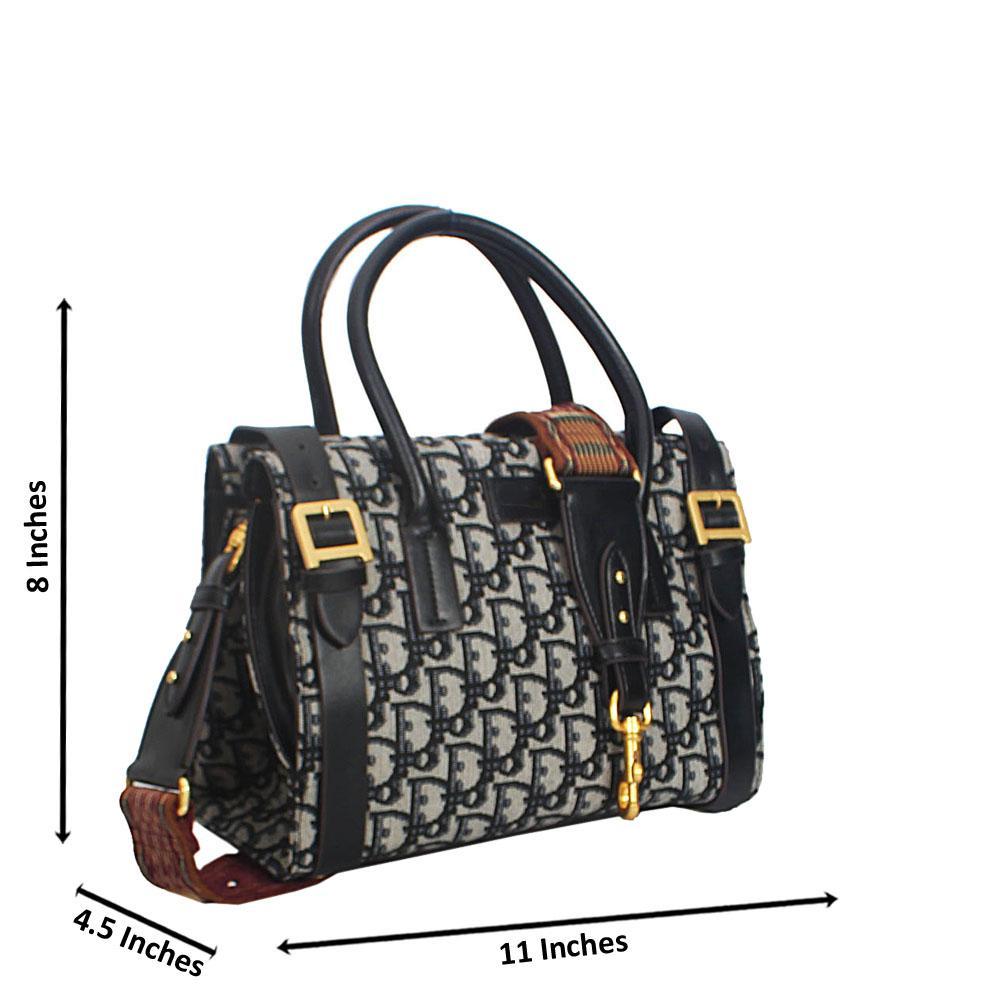 Black-Print-Giacinta-Buckle-Styled-Woven-Fabric-Leather-Tote-Handbag