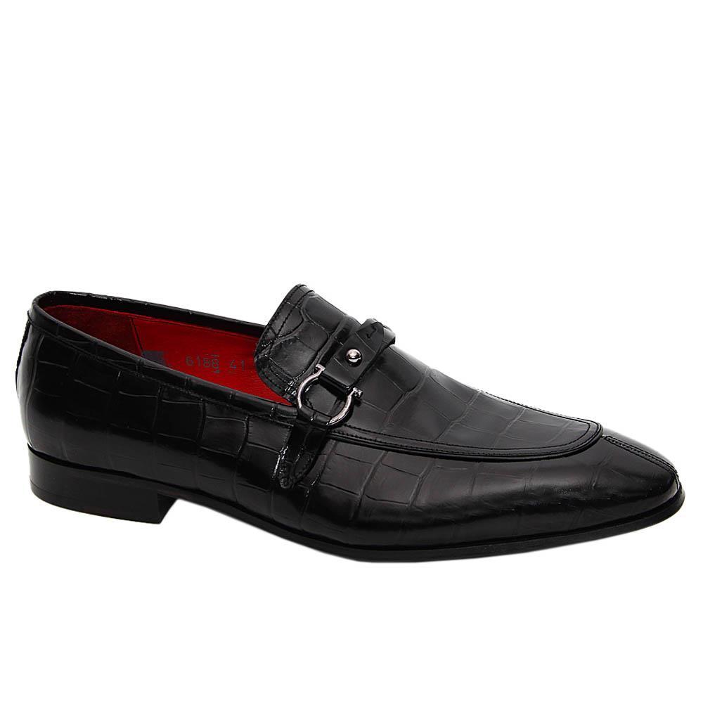 Black Santos Italian Leather Loafers