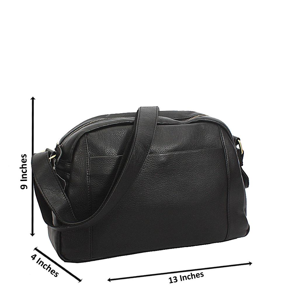 Black Vintage Side Crossbody Leather Bag