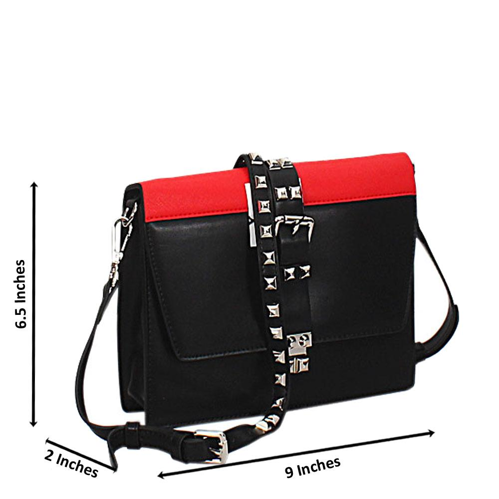 Red Black  Elisa Cow Leather Crossbody Handbag