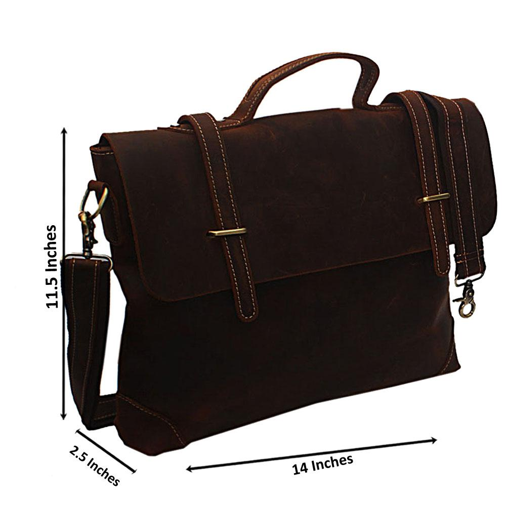 Tan Brown Distressed Leather Briefcase