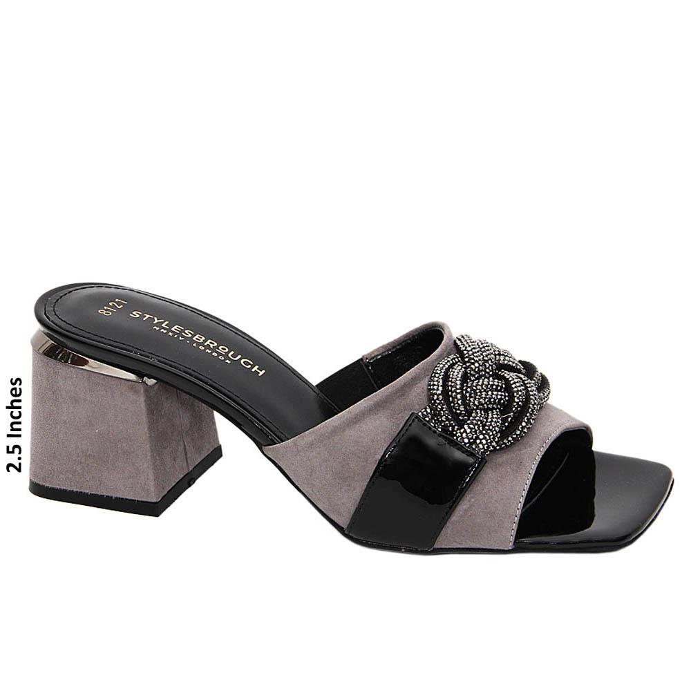 Gray Yolanda Studded Tuscany Suede Leather Mid Heel Mule
