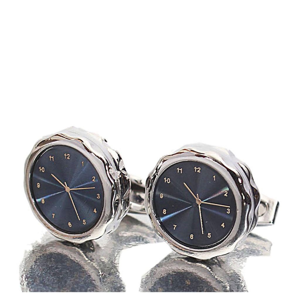 Silver Classic Time piece Stainless Steel Cufflinks