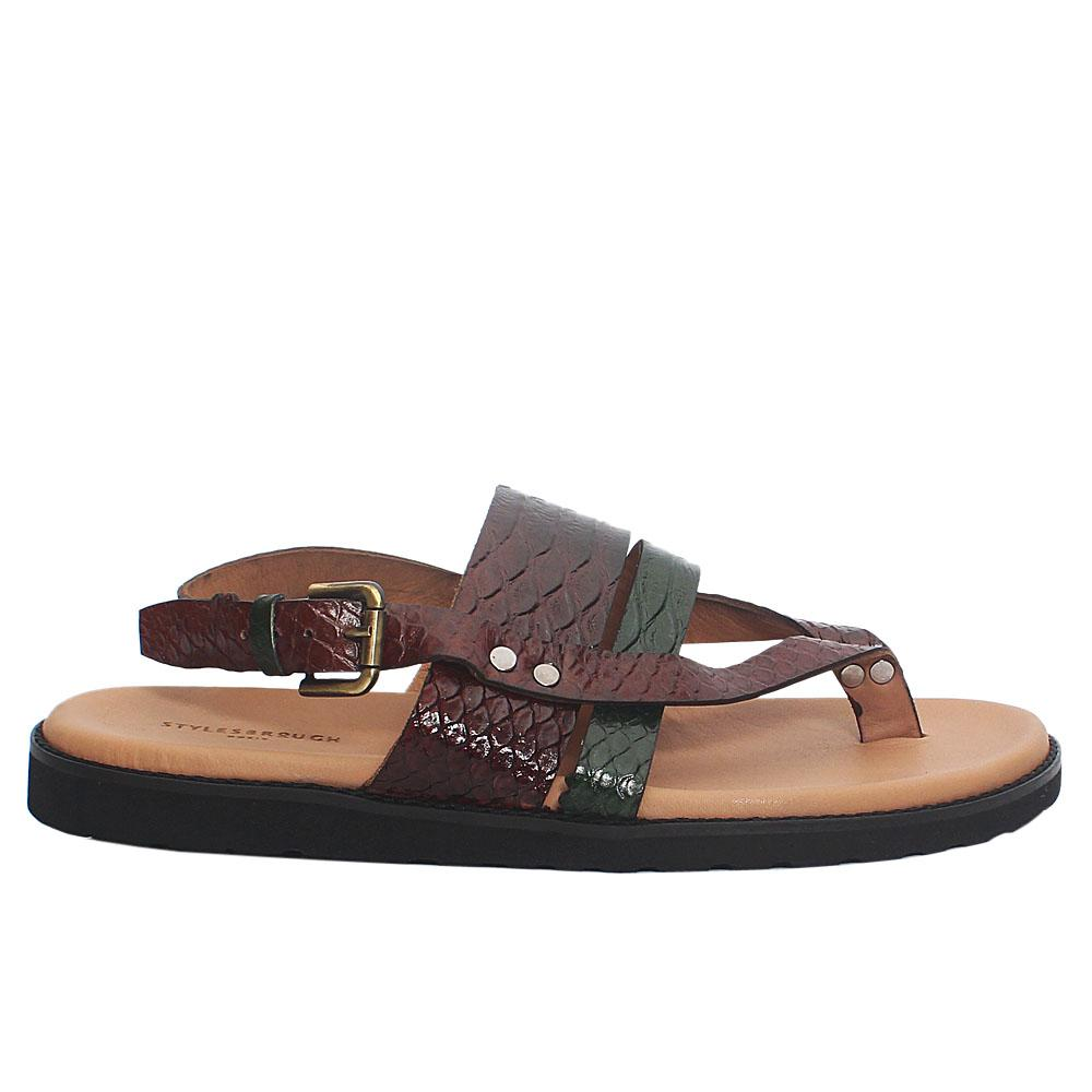 Brown Green Snake Italian Leather Men Sandals