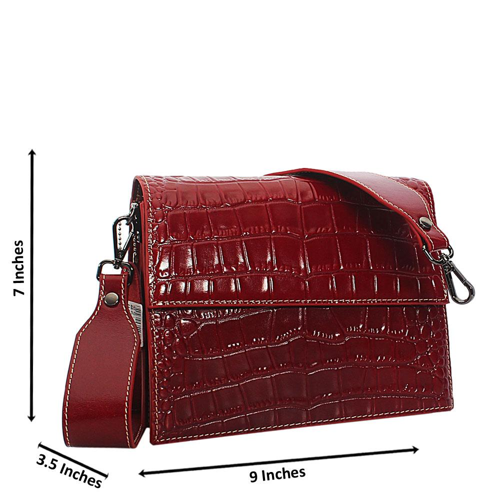 Willa OxBlood Croc Shining Montana Leather Crossbody Handbag