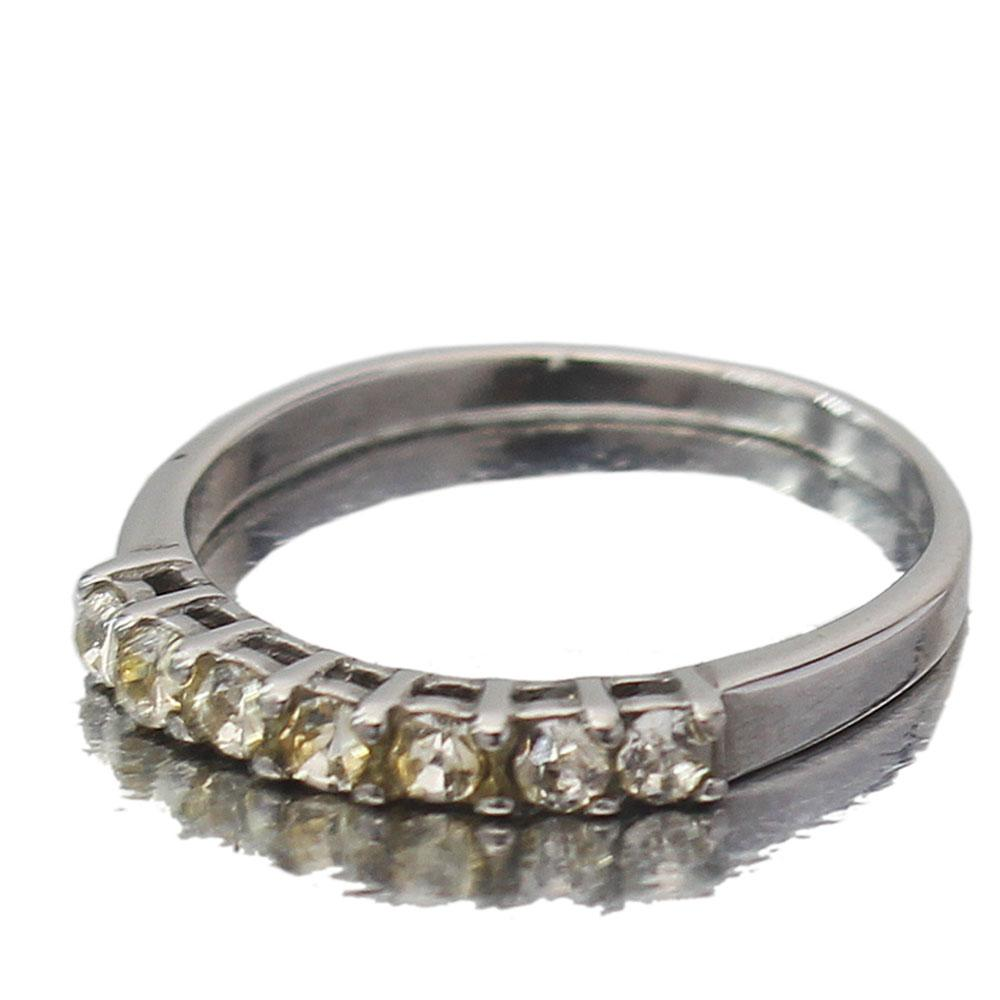 Fashion Silver Studded Ladies Engagement Ring Sz 11