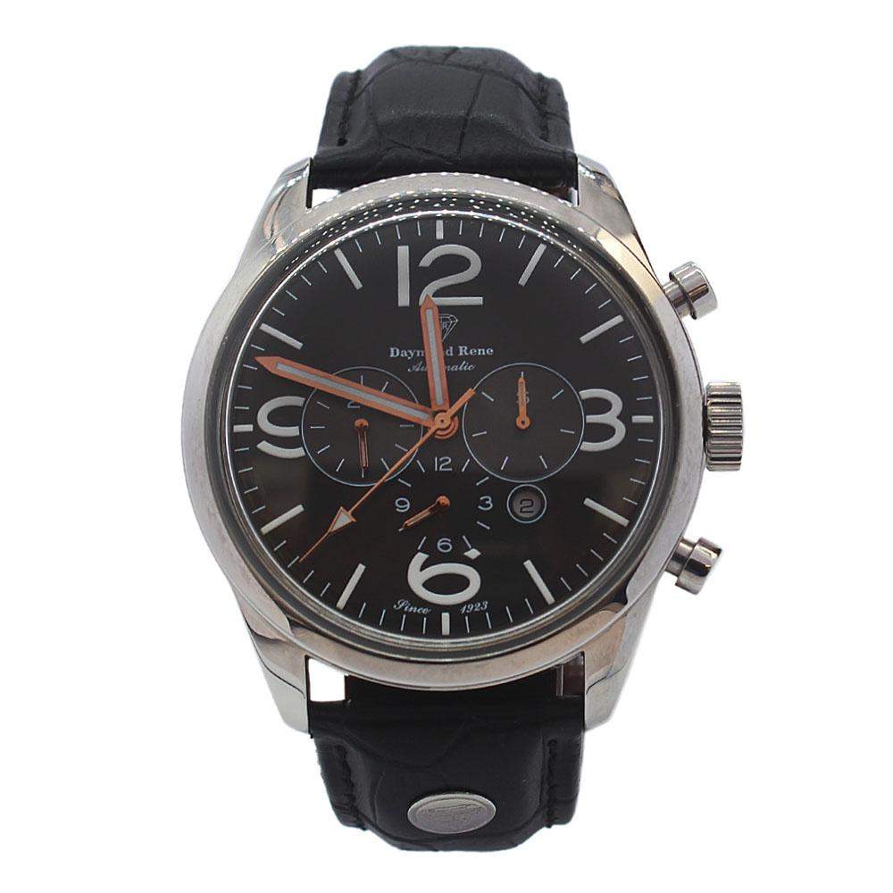 DR 3ATM Silver Black Leather Automatic Watch