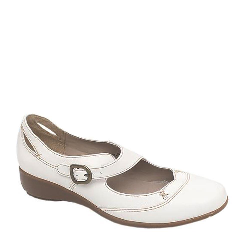Footglove White Leather Ladies Flat Shoe Sz 40.5