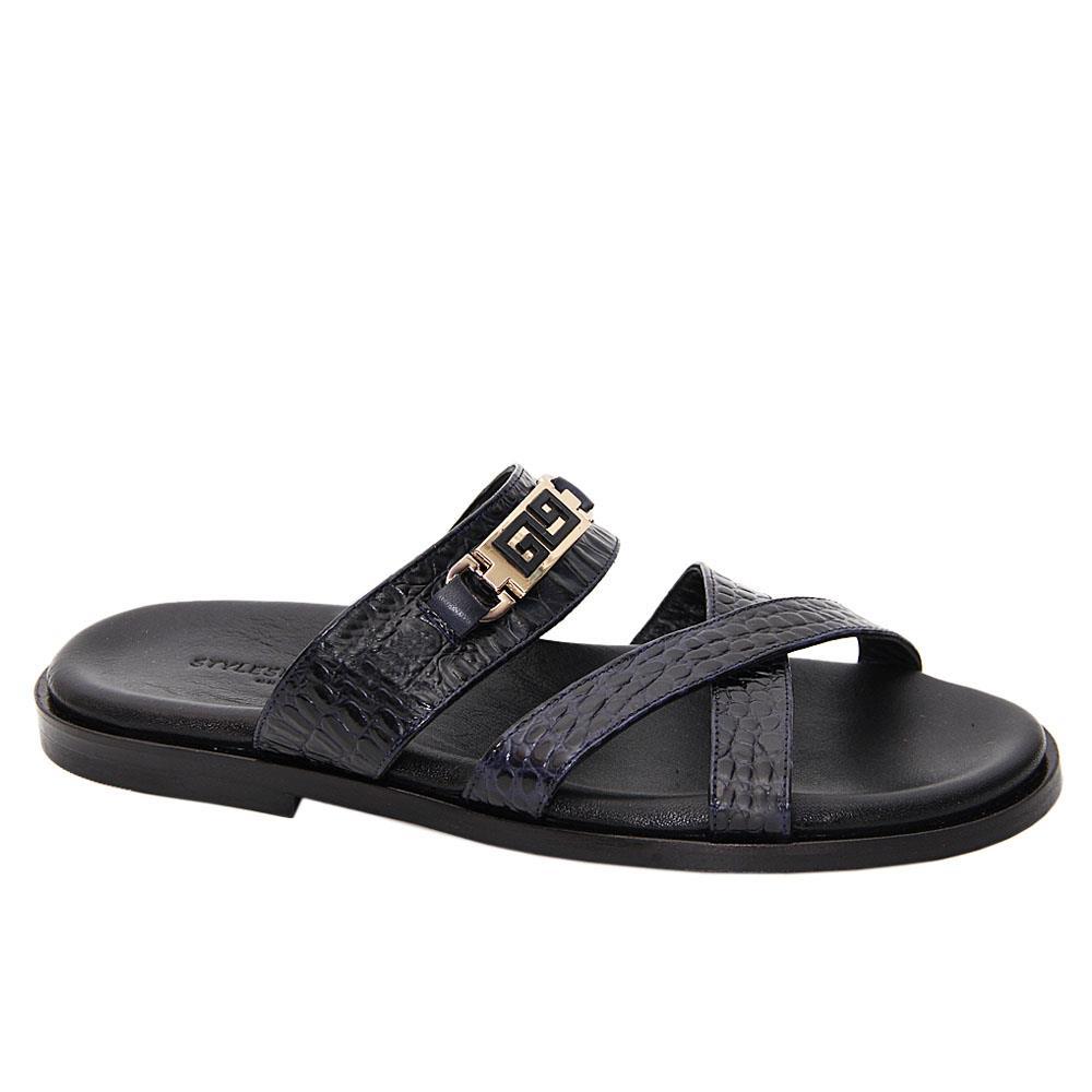 Dark Navy Damiano Cross Italian Leather Slippers