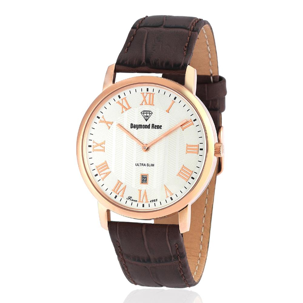 DR 3ATM Brown Rose Gold Leather Flat Watch