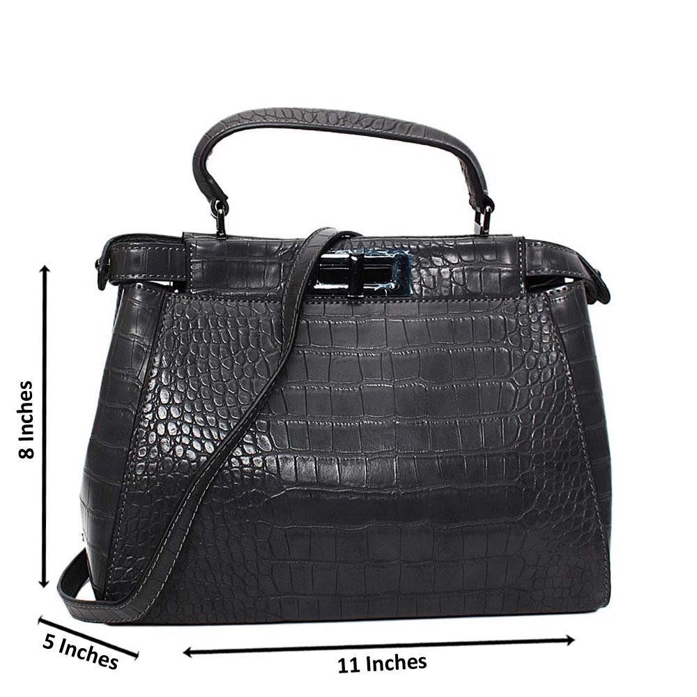 Gray Arabella Croc Leather Small Top Handle Handbag