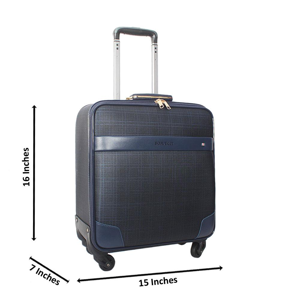 Navy 16 Inch Leather Pilot Suitcase Wt Lock